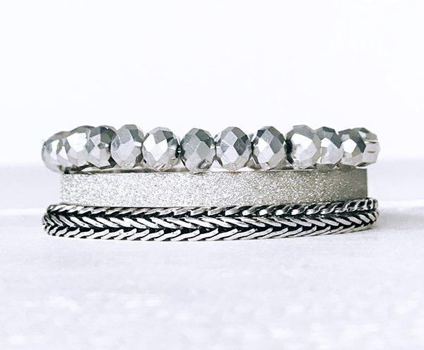 Armbanden set sparkle silver buddha style