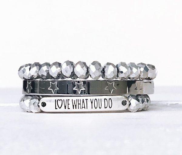 Armbanden zilver love what you do