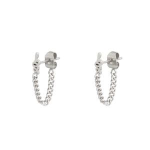 Oorbellen snake chain zilver
