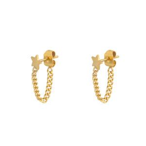 Oorbellen star chain goud