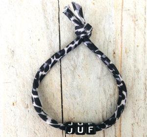 Juf armband elastisch zwart wit