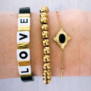 Armbanden set gouden kralen mystic love