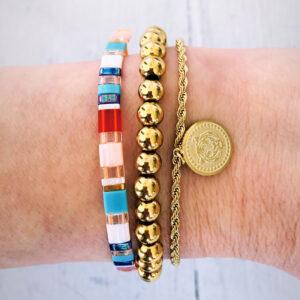 Armbanden set gouden kralen colors