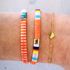 Armbanden set orange gold