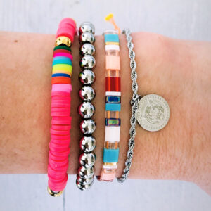 Armbanden set zilver pretty pink