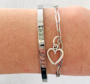 I love you to the moon and back met stainless steel zilveren hart
