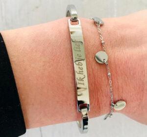 Ik heb je lief armband met stainless steel zilver
