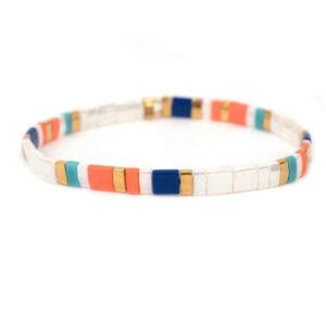Colorful beach bracelet white color
