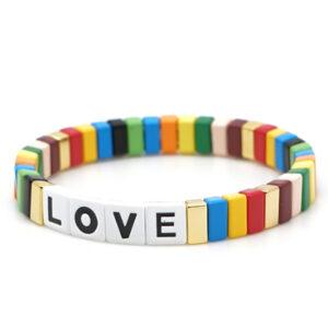 Armband LOVE plat multi color