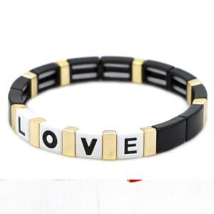 Armband LOVE plat zwart wit goud