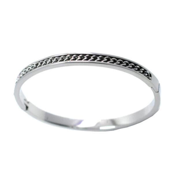 Armband bangle chain zilver