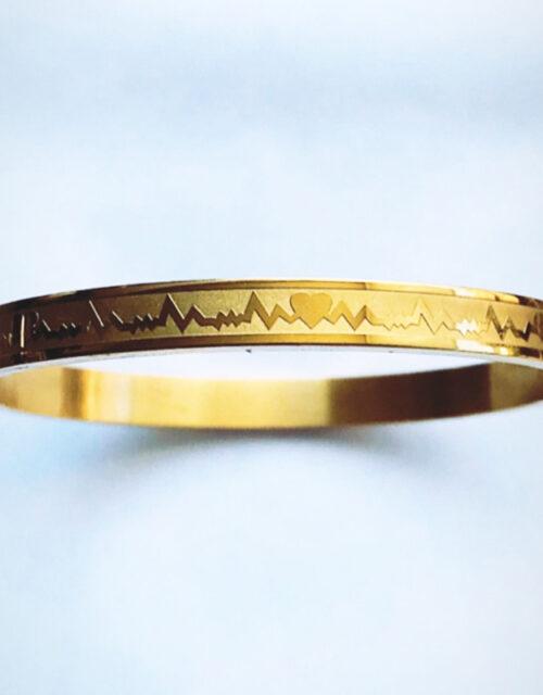 Armband heartbeat goud