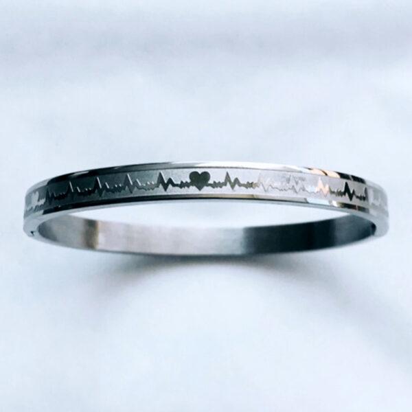 Armband heartbeat zilver