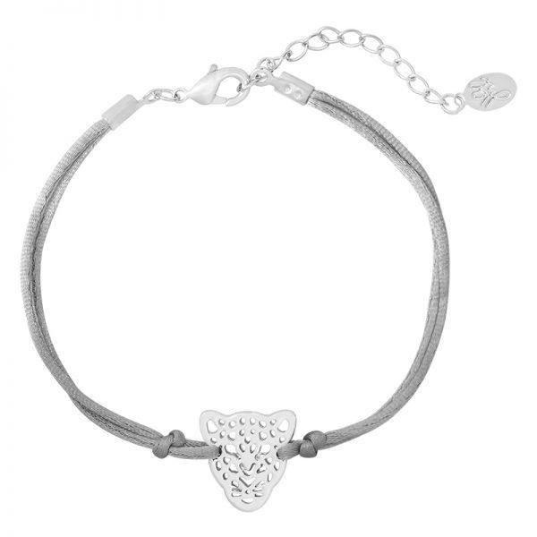 Armband leopard strap zilver