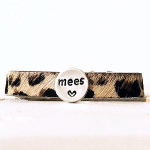 Armband met eigen naam leer met vacht leopard