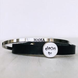 Armband met eigen naam zwart leer mama
