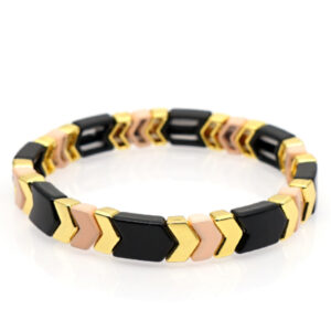 Armband plat arrow gold black pink