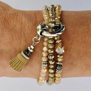 Armbanden set sparkle beige