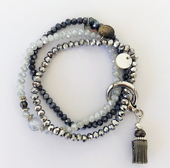 Armbanden set sparkle grey