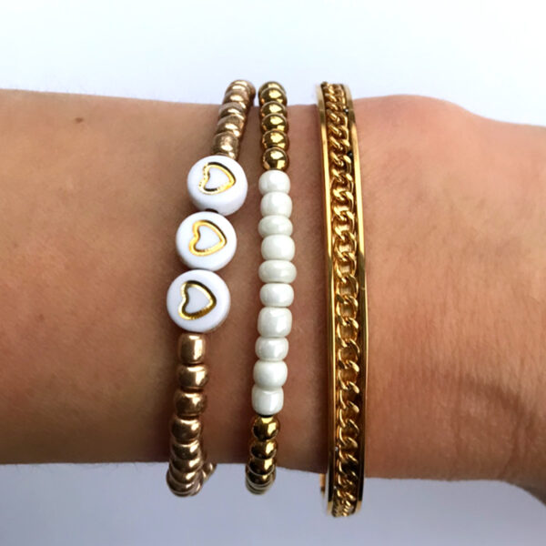 Armbanden set goud met wit
