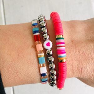 Armbanden set pink heart