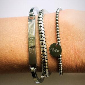 Armbanden set zilver ik heb je lief