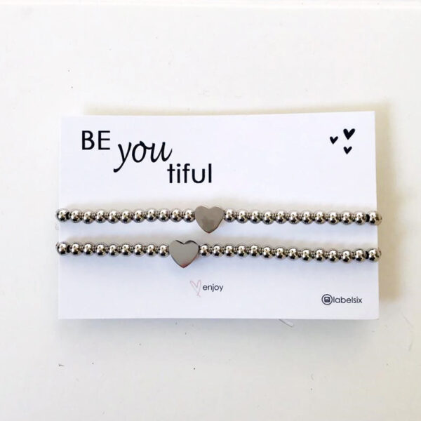 BeYouTiful zilveren rvs hartjes