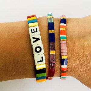 Beach bracelet armbanden set LOVE multi color