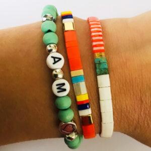 Beach bracelet armbanden set initial