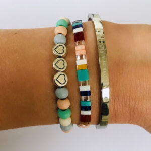 Beach bracelet armbanden set soft hearts bangle