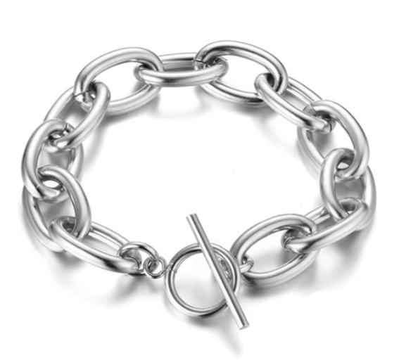 Brede schakelarmband zilver
