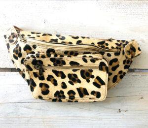 Leren bumbag leopard