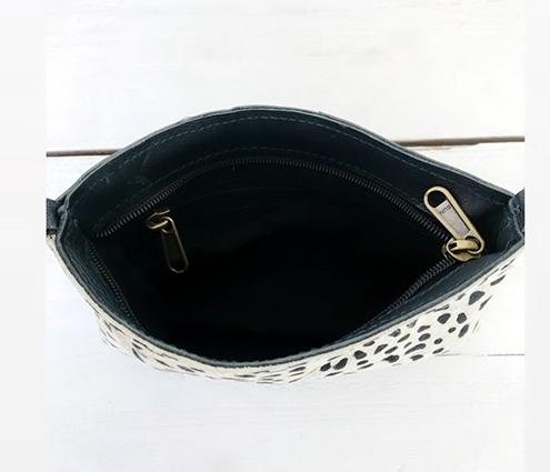 Leren clutch black&white
