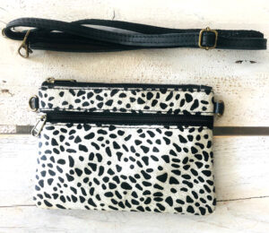 Leren clutch black&white