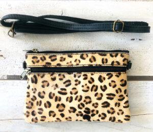 Leren clutch leopard