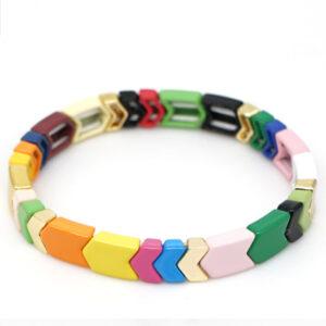 Gekleurde armbanden platte kralen bright colors