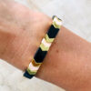 Gekleurde armbanden platte kralen black