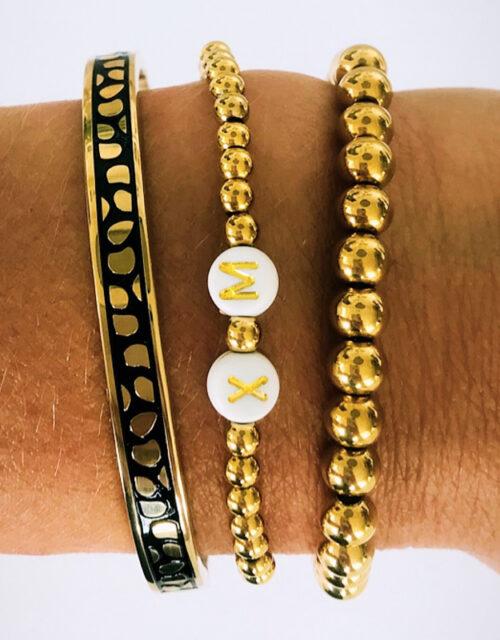 Goud inital panter armbanden