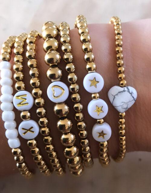 Gouden rvs kralen armbanden combi