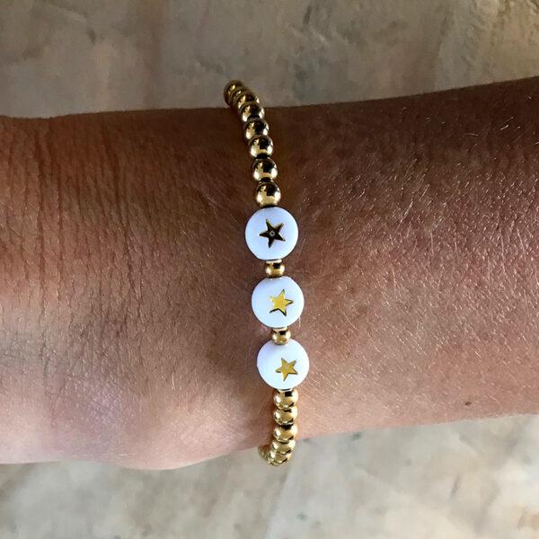 Gouden rvs kralen armband ster