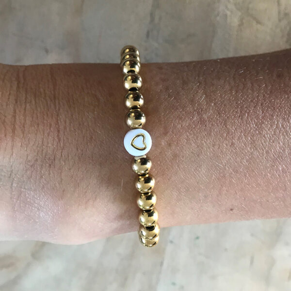 Gouden rvs kralen armband hart