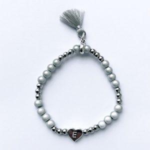 Initialen kralen armband hart zilver