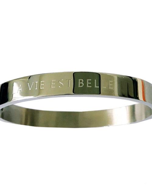 Bangle armband La vie est belle zilver