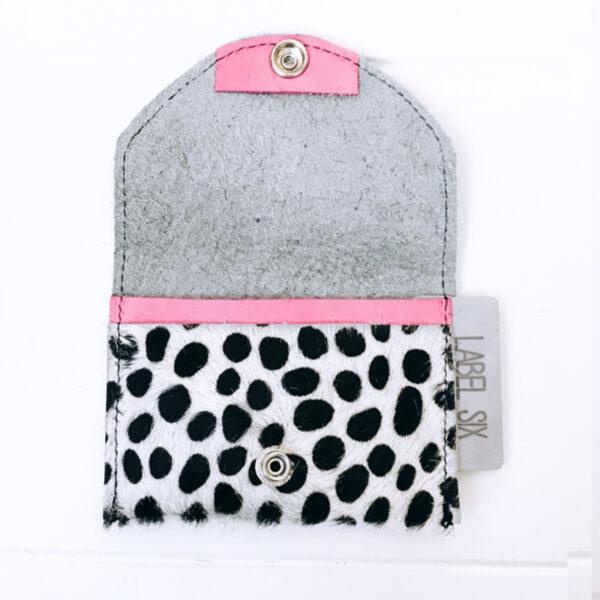 Label Six porto dots wit met roze binnenkant