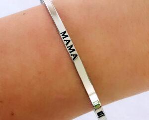 Mama armband zilver rvs