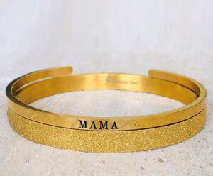 Mama armband glitter goud