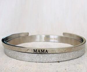Mama armband glitter zilver