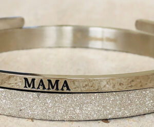 Mama glitter zilver rvs