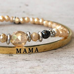 Sparkle mama in goud rvs