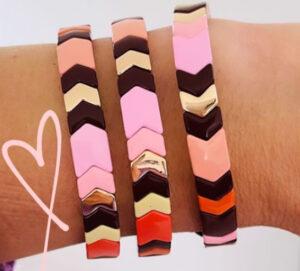 Metalen armband fall met roze